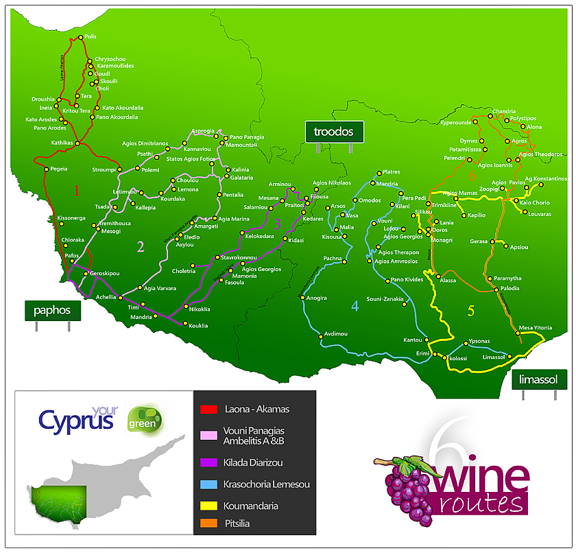 Cyprus Wine Routes Map